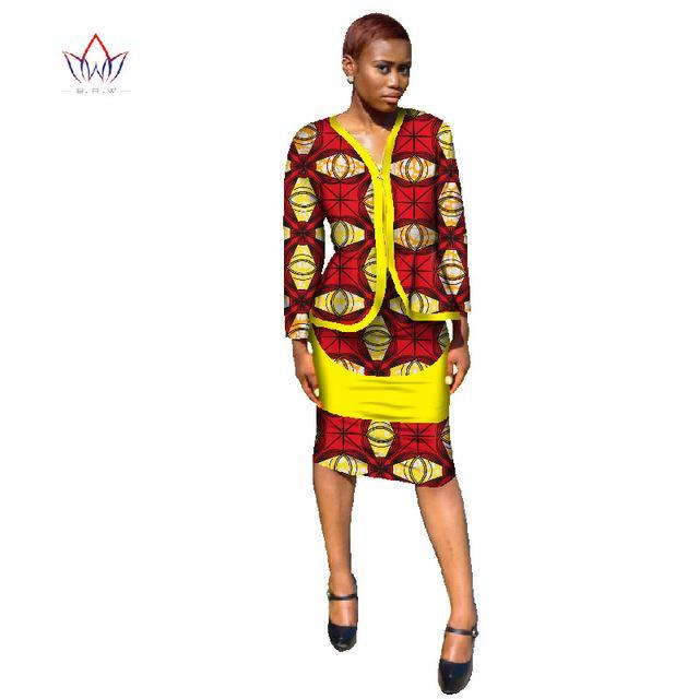2017 African Dresses for Women Two Piece Set Blazer Coat Jacket and Pencil Skirt Traditional Africa Clothing Plus 6XL BRW WY742