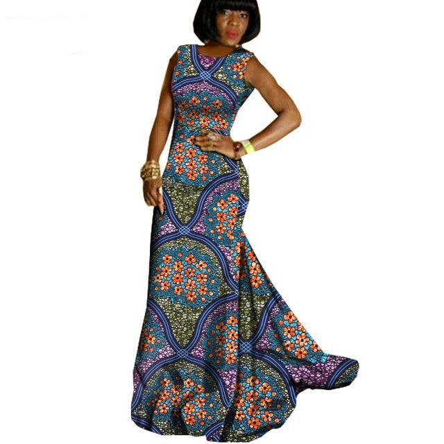 Trendy Elegant African Wedding Prom  party dress,Sleeveless floor-length trumpet maxi dress