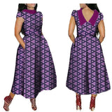 Elegant maxi dress for african women,V-Back short sleeve turn-down collar ankle-length dress
