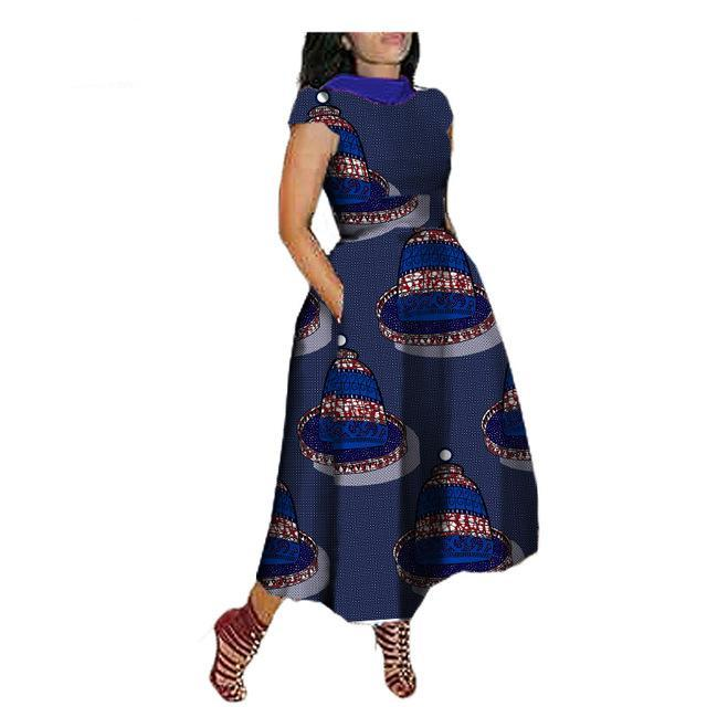 Elegant maxi dress for african women custom V-Back short sleeve turn-down collar ankle-length dress