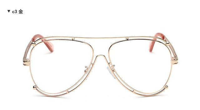8c958ee7fe714 vintage retro glasses Aviator Clear Lens Glasses Double Gold Frame  Spectacles Frame Eyeglasses women Optical Eye. Hover to zoom