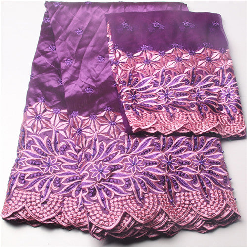 High Quality African George Fabric + India Guipure Beaded Lace - Owame