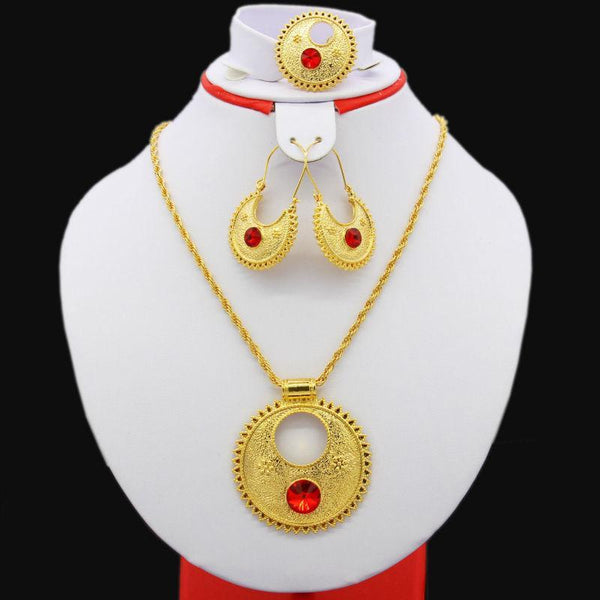 2017 New Big Size Ethiopian Wedding Jewelry Sets Gold Color Jewelry Habesha African Eritrea Women Gift