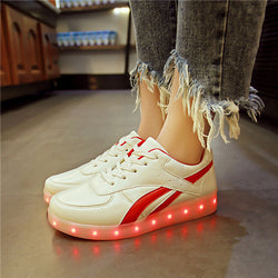 Summer Flash Led shoes 22 Style Colorful fluorescent kids usb recharge luminous sneakers Unisex led light shoes 0w88