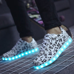 fluorescent kids usb recharge luminous sneakers Unisex led light shoes 0w88