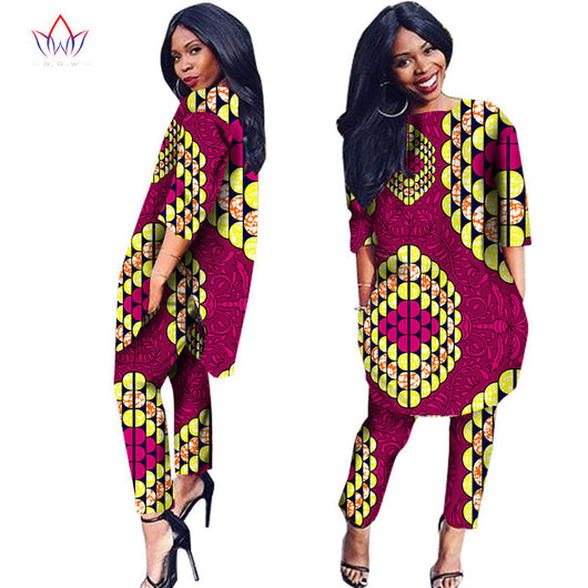 African Clothes Two Pieces Set Three Quarter Sleeve Outwear Women Shirt Dress and Long Pants with Pocket Plus Size 6XL