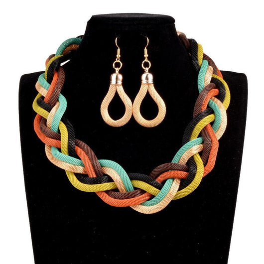 9 Color Braid Necklace and Earrings Fashion Jewelry sets for women Nigeria bridal wedding African beads jewelry set
