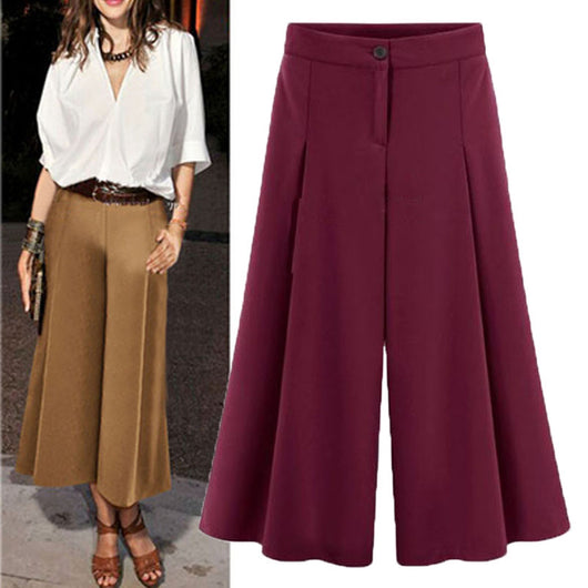 Autumn Summer Women Buttons Zipper Loose OL Pantalones Ladies Wide Leg Capris Boot-Cut Pants Casual Party Solid Long Trousers-D1141