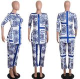 Beautiful Traditional African Top and Pant  Women African Print Dashiki Dress - Owame