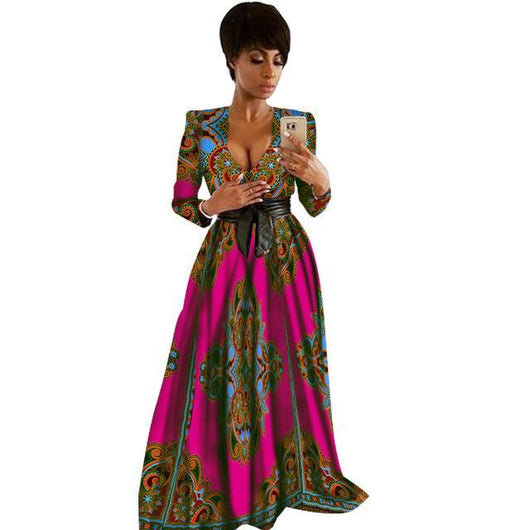 African Dresses for Women Bazin Riche Sleeveless V neck Vestidos Dresses, Dashiki Kanga Ankara African Clothes-0W454