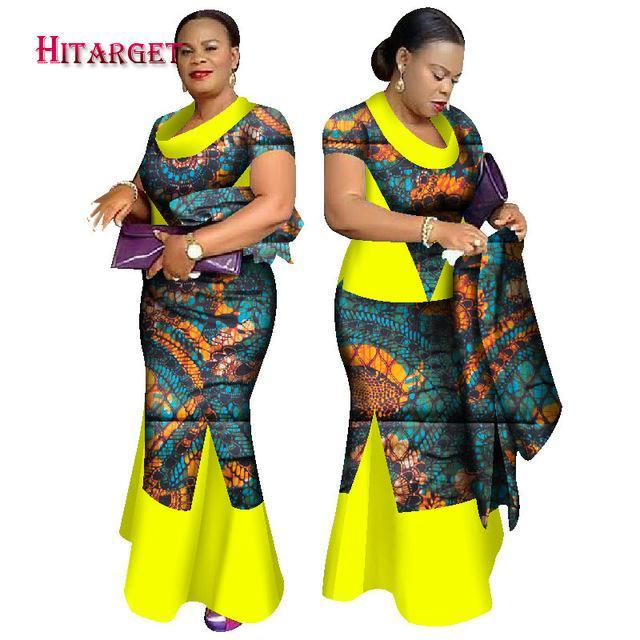 2017 African Kanga Clothing New Fashion Short Sleeve Tops+Fishtail Dress Suits+Head Scarf African Skirt Set Plus  Size WY1631