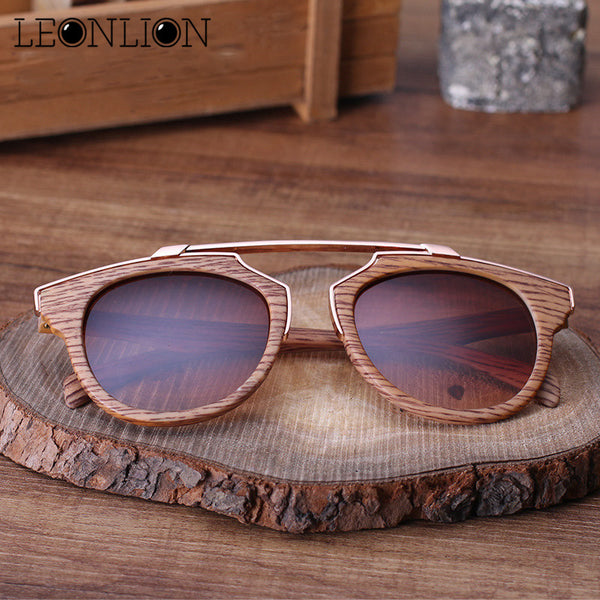LeonLion 2017 Retro Wood Grain Sunglasses Men Brand Designer Classic Bamboo Sun Glasses Men/Women Driver Metal Oculos De Sol