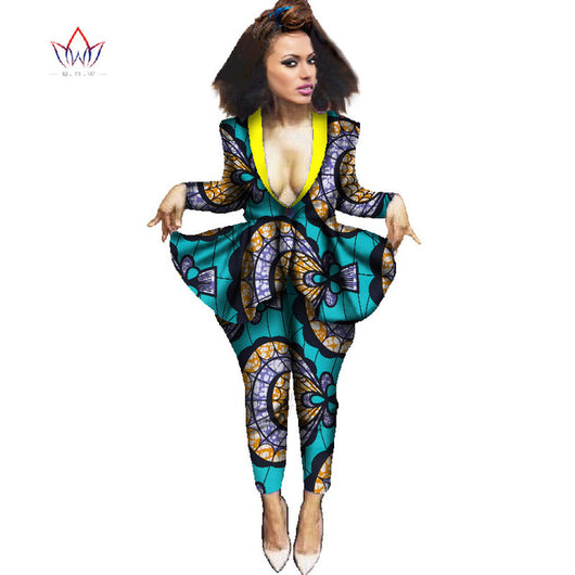 Africa Pant Set for Women Dashiki Elegant  African Clothing  Bazin Riche Plus Size African Clothes#owame11