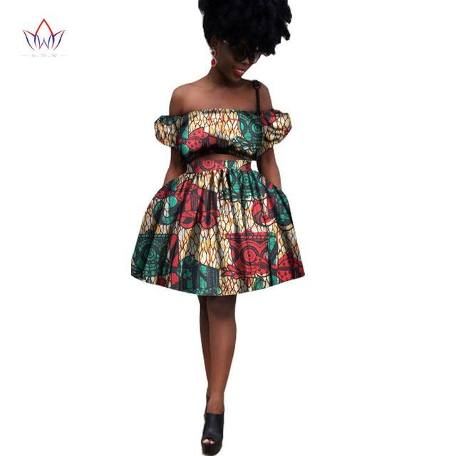 2017 Pretty Women Suits New Fashion African Printed Wax 2 Piece Set Crop Top And Lady Skirt Fascinating dashiki 7xl WY1533
