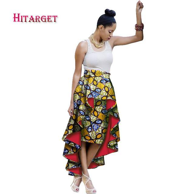 2017 Autumn African Woman Clothing Double Layer Irregular Skirts Bazin Wax Print Stacked Skirts Dashiki African Clothes WY1585