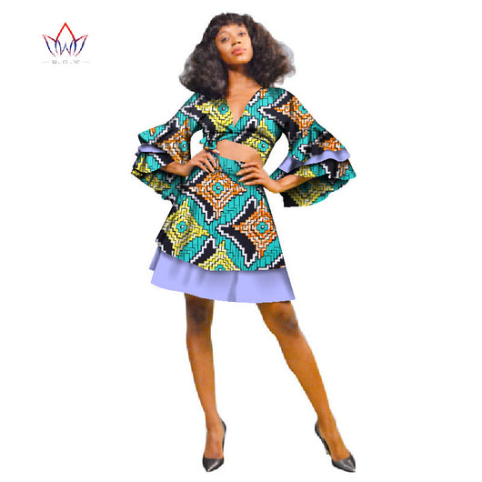 Women Suit New Fashion African Printed Wax 2 Piece Set Women Crop Top And Skirt Set Fascinating dashiki set WY2683