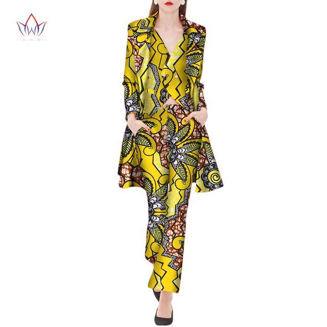 2017 Autumn three Piece Casual Set Wax Top Pant and Vest Suits African 6xl africa Cotton regular Clothing woman Plus Size WY2040