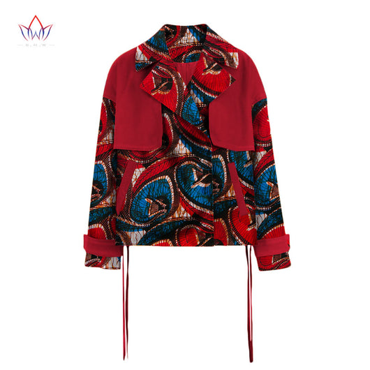 BRW 2017 New African Wax Print Jacket for Women Suit Dashiki Full Sleeve Notched Plus Size 6xl African Cotton Jacket Coat WY2035