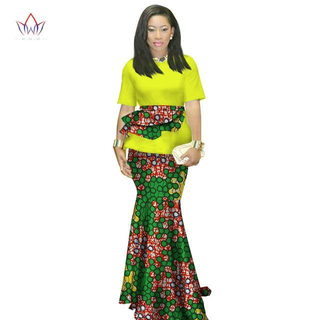 2017 Summer african clothing traditional o-neck african clothing for women print Skirt set african cotton clothes ruffles WY1413