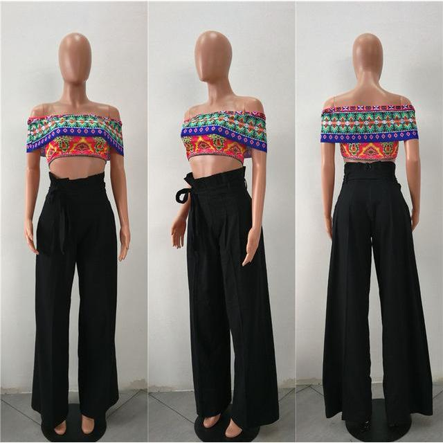 2017 Autumn Winter High Waist Wide Leg Pants Women Bow Tie Up Sash Pockets Casual Long Pants Loose Trousers Women Palazzo Pants