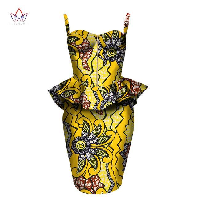 2017 african dress Plus Size 2 Pieces African Print Dashiki Shirt Skirt Set Bazin Rche Femme Africa Clothing 5xl natural WY1390