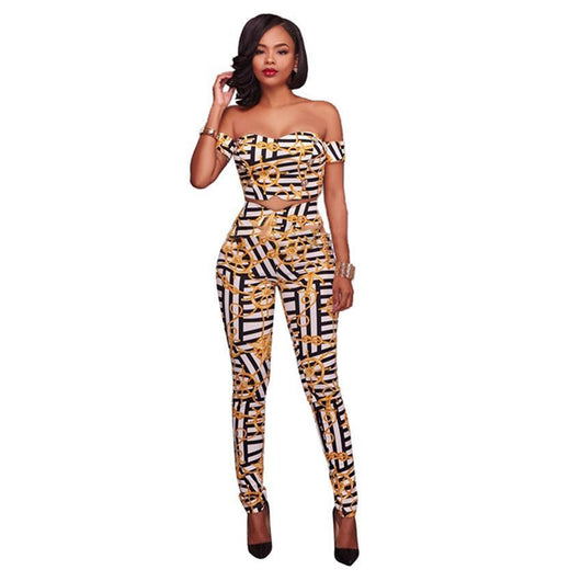 New Fashion Two Piece Bodycon Elegant Jumpsuit Women Strapless Sexy Rompers Off Shoulder Print Jumpsuit 0wz11
