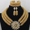 Image of Chunky Gold Crystal Beads Women Necklace Bridal Fashion Jewelry  Wedding African Beads Jewelry Set 2017 Free Shipping ABF470