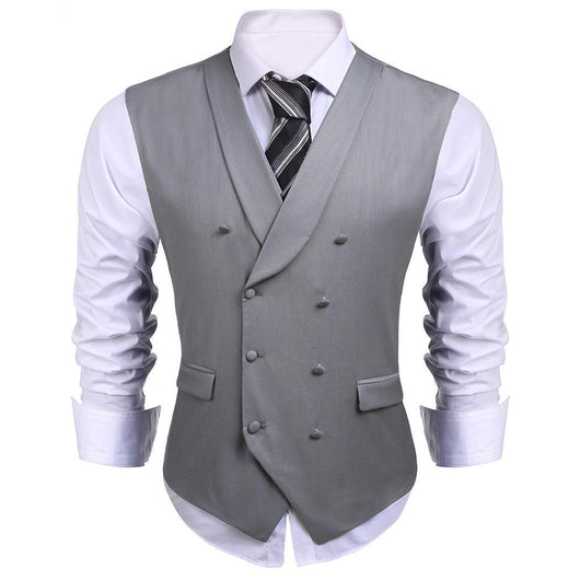 2017 New Arrivals Gentlemen Clothes Shawl Collar Double-breasted Solid Slim Fit Business Suit Vest