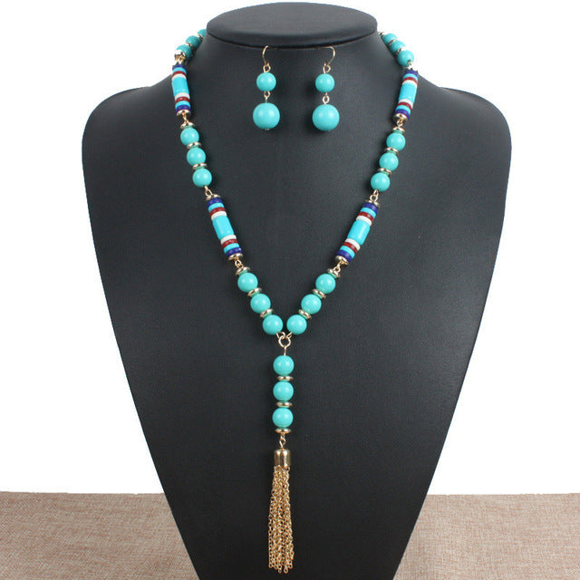 Multi color Resin Strand Necklace Bohemian Long Necklace Set Boho African Beads Jewelry Set Trendy Fashion Jewelry Sets Duftgold