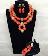 Dubai Indian Bridal African Coral Jewelry Sets, Coral and Gold Wedding Coral Beads Jewelry Set-0WM1808