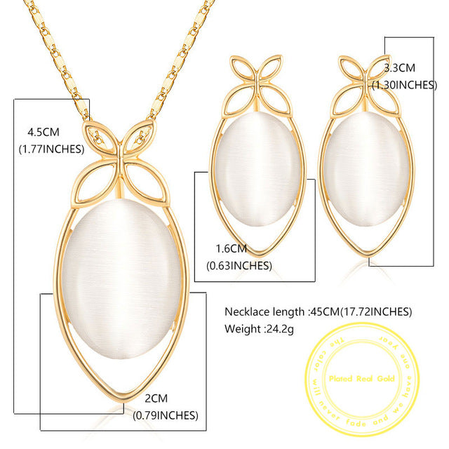 CWEEL Fashion Jewelry Sets Opal Wedding Jewellery Sets For Brides African Beads Jewelry Set Women Statement Necklace Set