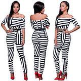 Striped/Grid Print Slash Neck Long Bodysuit 5 Colors Women Hot Daski Short Sleeve Sashes Bodycon Jumpsuit Nice Neck Overalls 0wz11