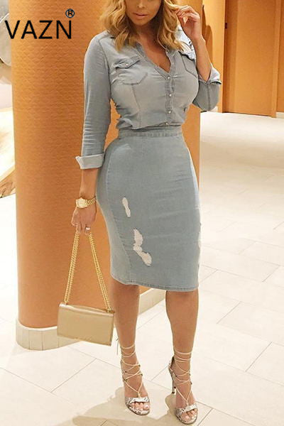 VAZN Hot Fashion Design 2017 Bandage Dress Full Sleeve Denim Dress Vestido De Festa Casual Dress SY0805