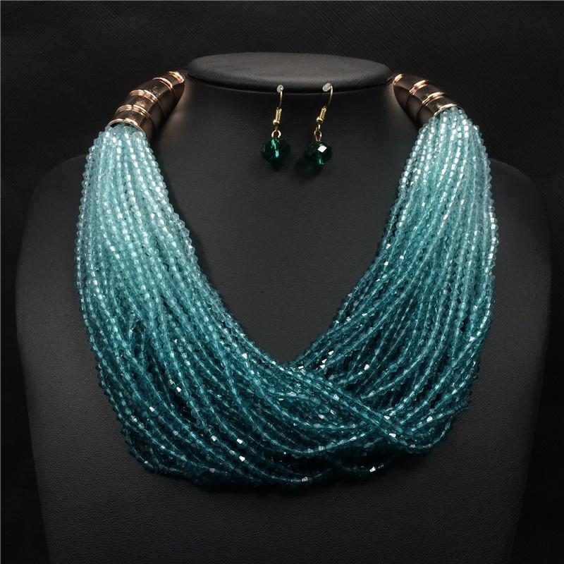2017 New Luxury Multi Layer Necklace and Earrings Crystal Strand Handmade Beads Gold Bohemian Jewelry Sets for Women Duftgold