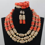 Big bold african jewelry Set,Large Orange Coral Bead Set/Afican Wedding Coral Bead Set/ Nigerian Bridal Beads Sets/African Coral Beads/ Coral plus Gold Accessories Jewelry sets,African Orange Coral Beads Jewelry Sets Nigerian Wedding Jewelry Sets