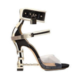 Women Metal Lock Gladiator Shoes PVC leather sandals Rhinestone high heels sandals Shoes Platform-001