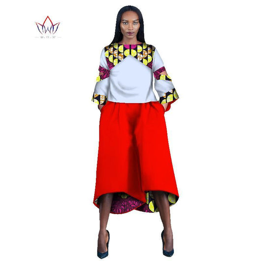 2017 traditional african fashion O-Neck african pants suit women two pieces three quarter dashiki sets plus size natural  WY1135