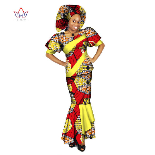 african clothing traditional o-neck set african skirt suits plus size two piece set-OWY459