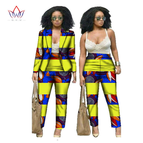 Sexy African Print 2 Piece Set For Women Dashiki Pant and Crop Top