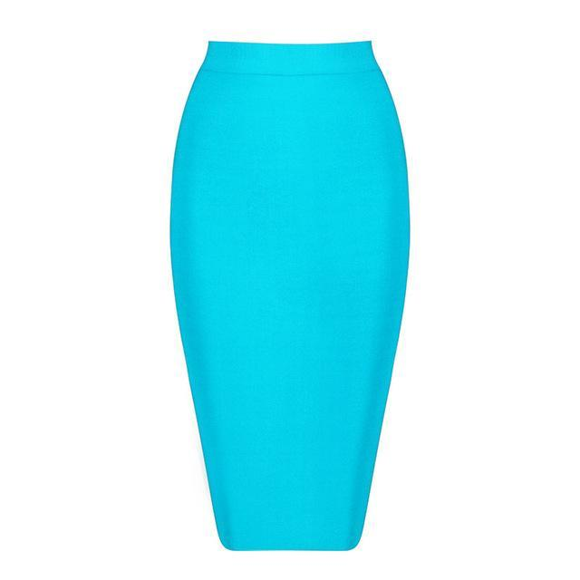 2017 Stretchy Elastic Women Knee Length Celebrity Bandage Skirts Sexy Slim Solid Color Pencil Skirt Drop Shipping HLS113
