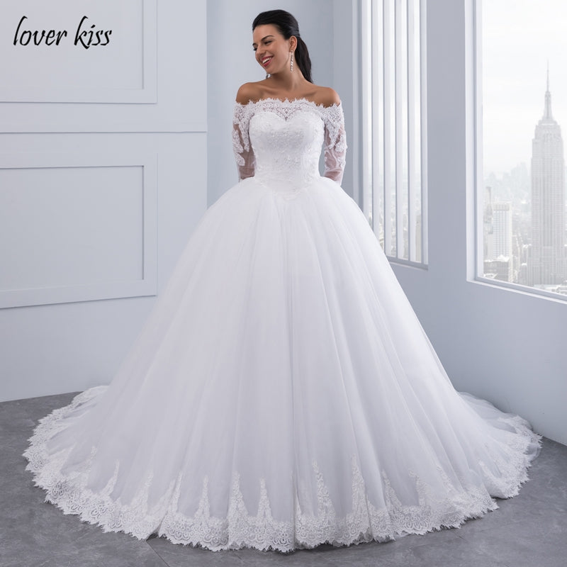 a1e2622a642 Hover to zoom · Lover Kiss Vestidos de Noiva Ball Gown Lace Wedding Dress  Long Sleeves Off Shoulder Tulle Puffy