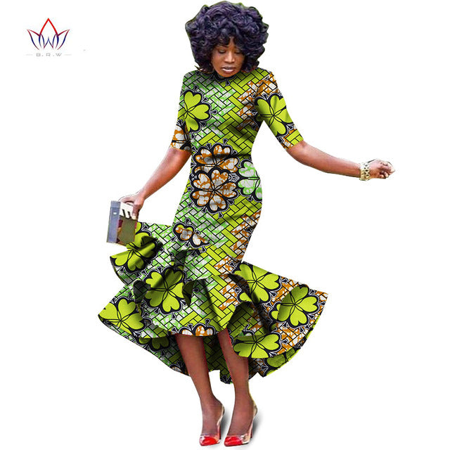 African bazin riche printed Dress For Women,Dashiki Dress,African Dress,African Clothing -OW454 - Owame