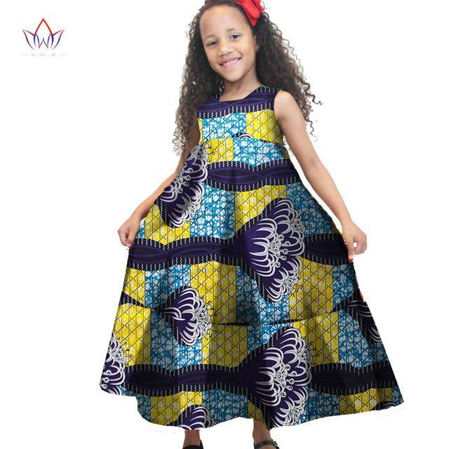 2017 African Women Clothing kids dashiki Traditional cotton Dresses Matching  Africa Print Dresses Children Spring BRW WYT48