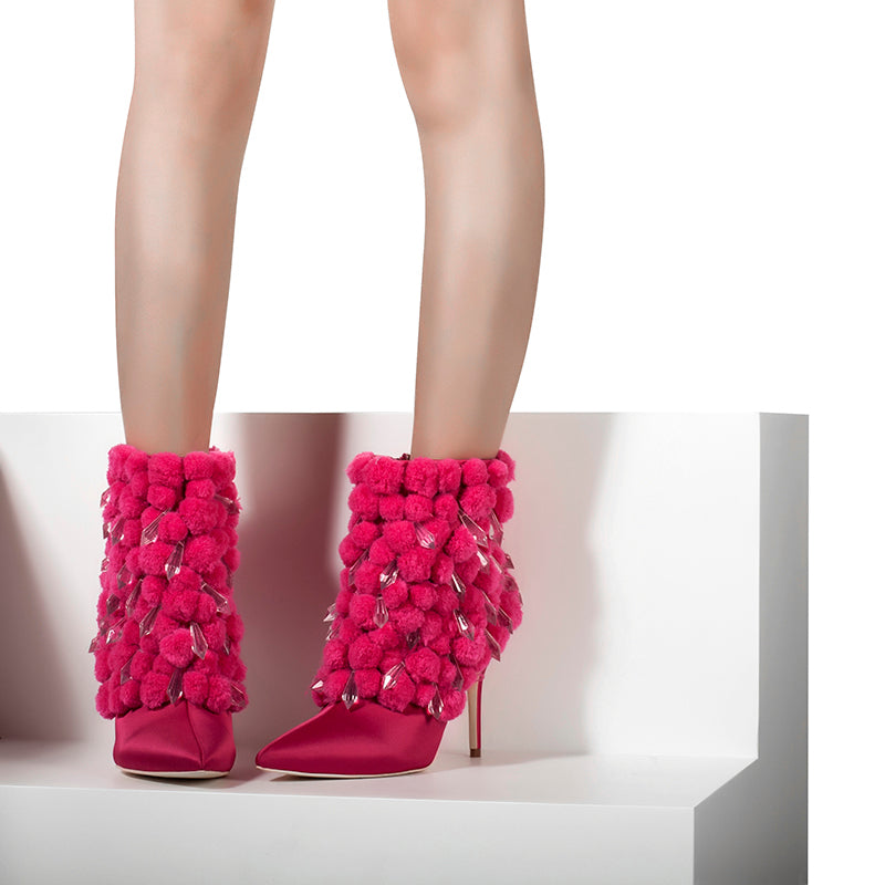 ab94f7b62fd3 ... Brand Pink Palms Winter Boots Women High Heel Boots Pointed Toe Ankle  Boots for Women Fashion ...