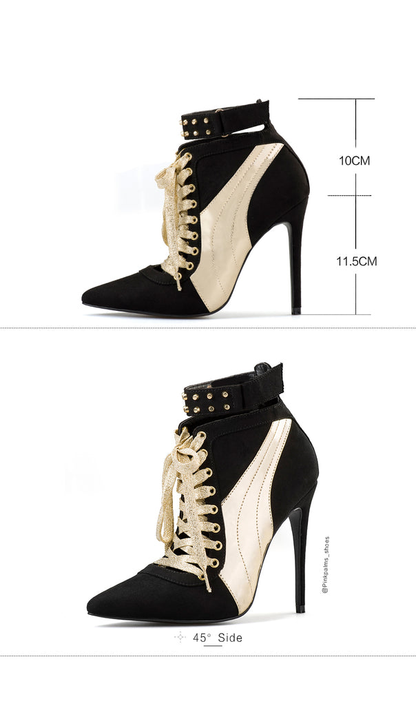 1437e35e46b4a Brand Pink Palms Women Winter Boots Black and Gold Lace Up Ankle Boots for Women  High. Hover to zoom