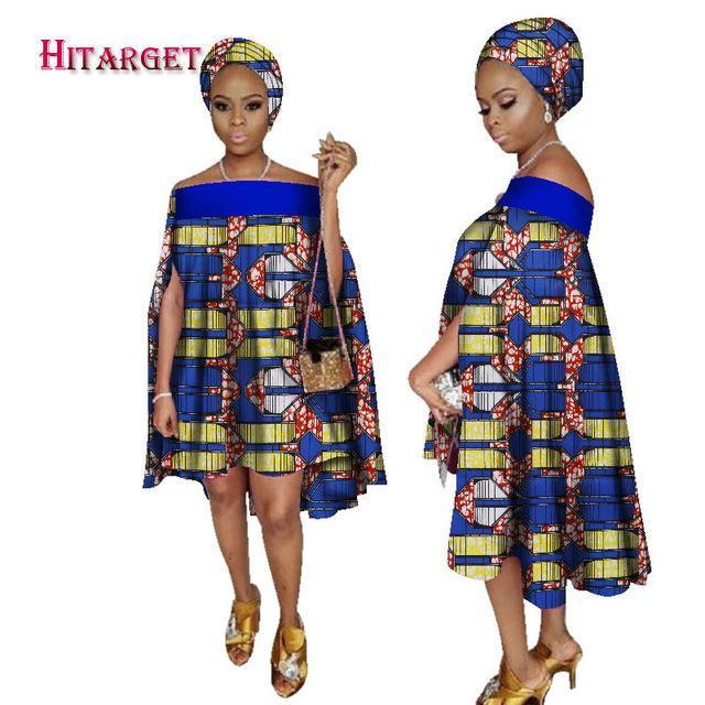 2017 african dresses for women african bazin slash neck dress Dashiki women dress cotton african print clothing plus size WY2238