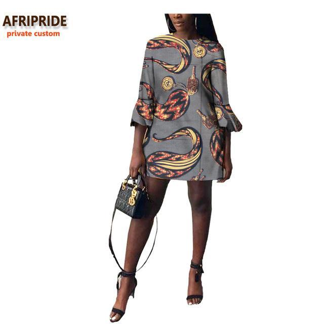 2017 autumn african women dress AFRIPRIDE private custom flare sleeve above-knee length dress for women 100% pure cotton A722570