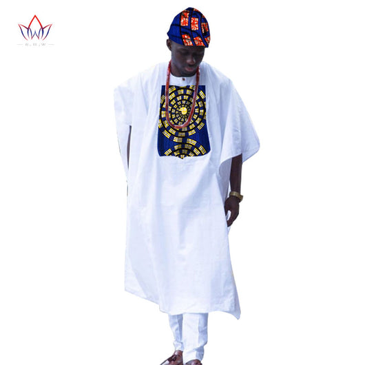 New African Clothes for Men Dashiki Print Tailored Long Men Loose Plus Size Robe Traditional African Clothing without the Hat
