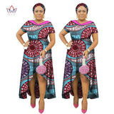 2017 African Clothes for Women Double-layer Neck Africn Bazin Dress Dashiki Women Dress Cotton African Print Clothing WY1845
