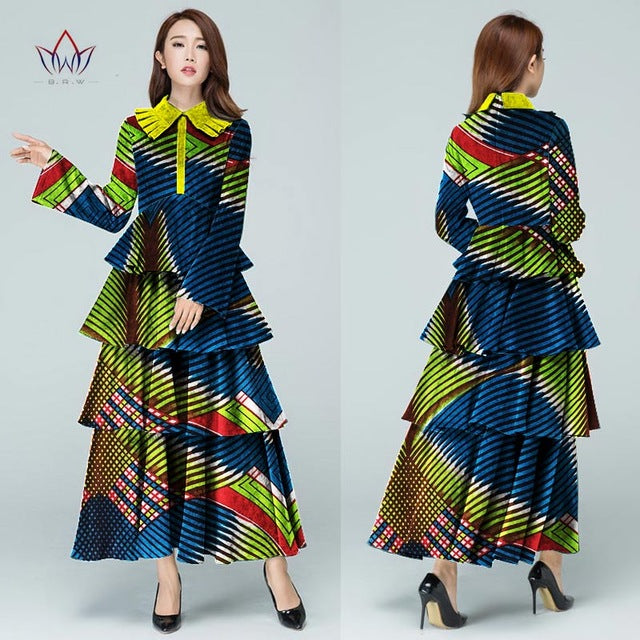 b080a2034a ... African Print Stitching Dress Multilayer Maxi Dresses Women Long Sleeve Women  Plus. Hover to zoom